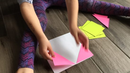 Cover It Up! K-4 Task 13 - What Taliah did with triangles to cover the square