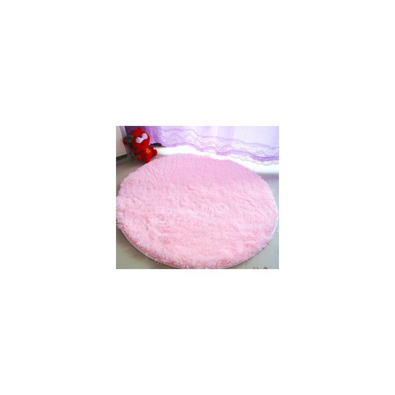 tapis shaggy rond rose