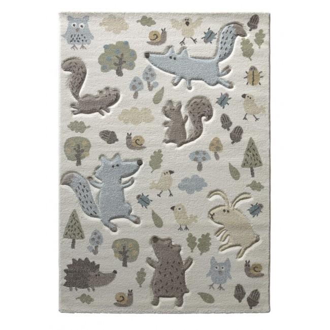 tapis bebe garcon forest bleu fond ecru cree par sigikid