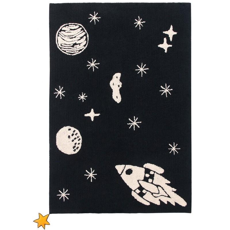 tapis original univers rectangle en coton noir et blanc lavable chambre enfant garcon par lorena canals