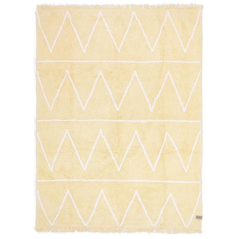 tapis enfant lavable hippy jaune en coton pour decoration chambre garcon ou fille