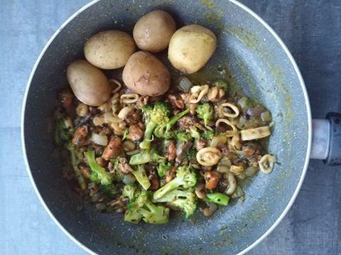 Zöldséges tengeri herkentyű-mix újburgonyával