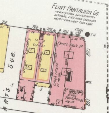 Flint Pantaloon Company Pic Sanborn Map