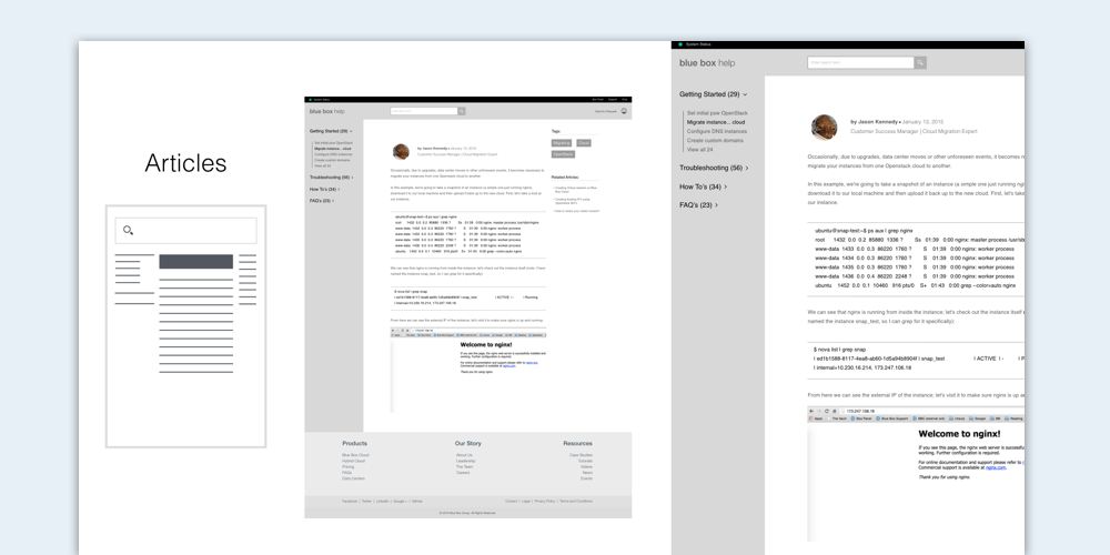 Help Documentation Redesign Exploration Detailed wireframes