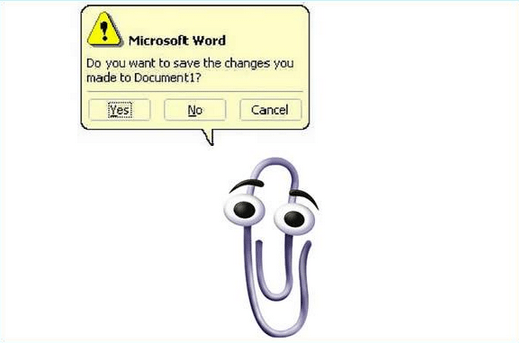 visual aesthetics ux design clippy img credit: http://insights.dice.com/wp-content/uploads/2015/06/Screen-Shot-2015-06-25-at-11.46.29-AM.png