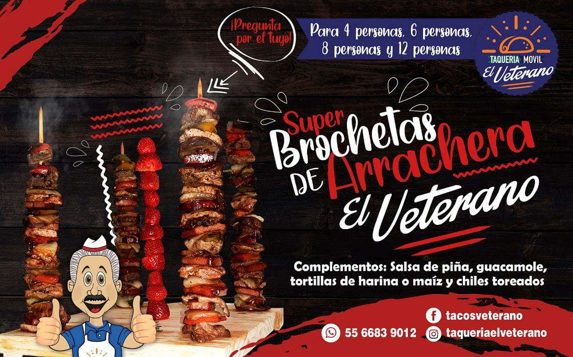 Super Brochetas de Arrachera El Veterano