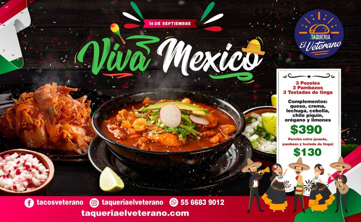 Paquete Viva México, Septiembre 2021 en Taquería el Veterano