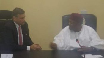 The American Ambassador to Nigeria, Mr. William Stuart seated with the Executive Governor of Taraba State, His Excellency, Arc. Darius Dickson Ishaku during his visit to the State