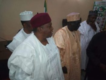 His Excellency,  Gov. Darius Ishaku together with the PDPPresidential Aspirant, Sen. Ahmed Makarfi during his visit.