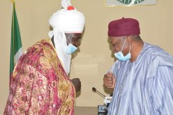 Gov. Ishaku receiving complement from one of the visiting Chiefs