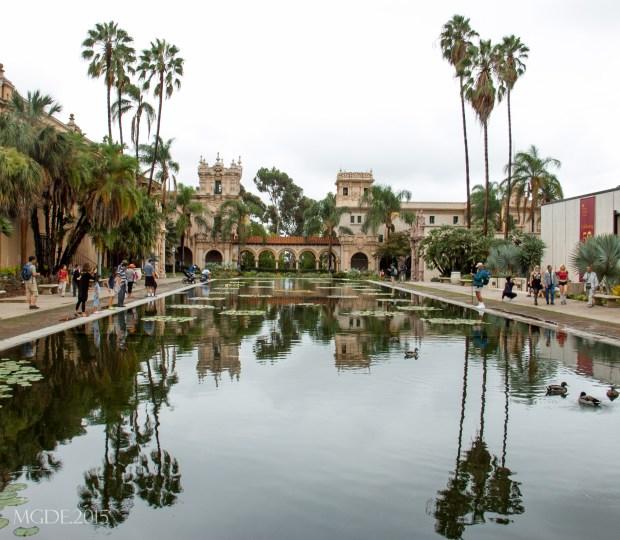Casa de Balboa beyond the reflection pool.