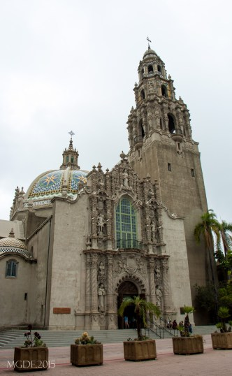 The California Bell Tower and San Diego Museum of Man.