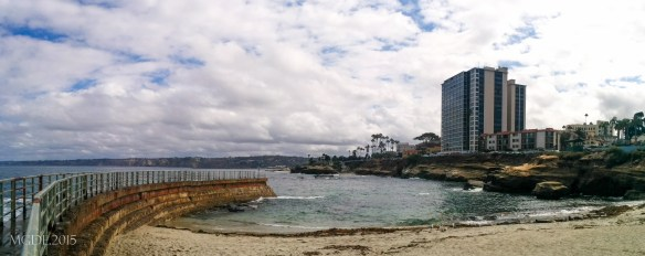 Panoramic view (looking north) of La Jolla Cove as seen from Children's Pool.