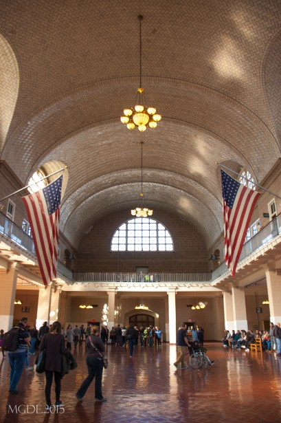 Great Hall, where immigrants were processed.(note the 48-stars US flags still hanging)