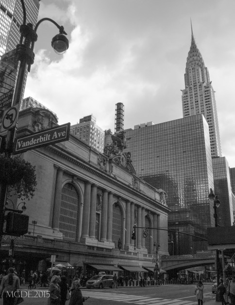 Grand Central Terminal, and the Chrysler Building in a distance, on the 42nd Street.