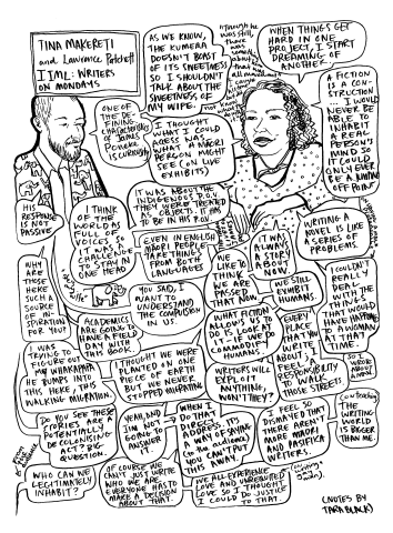 Drawing/comic of Tina Makereti in conversation with Lawrence Patchett, at Te Papa for the 2018 IIML Writers on Mondays series.