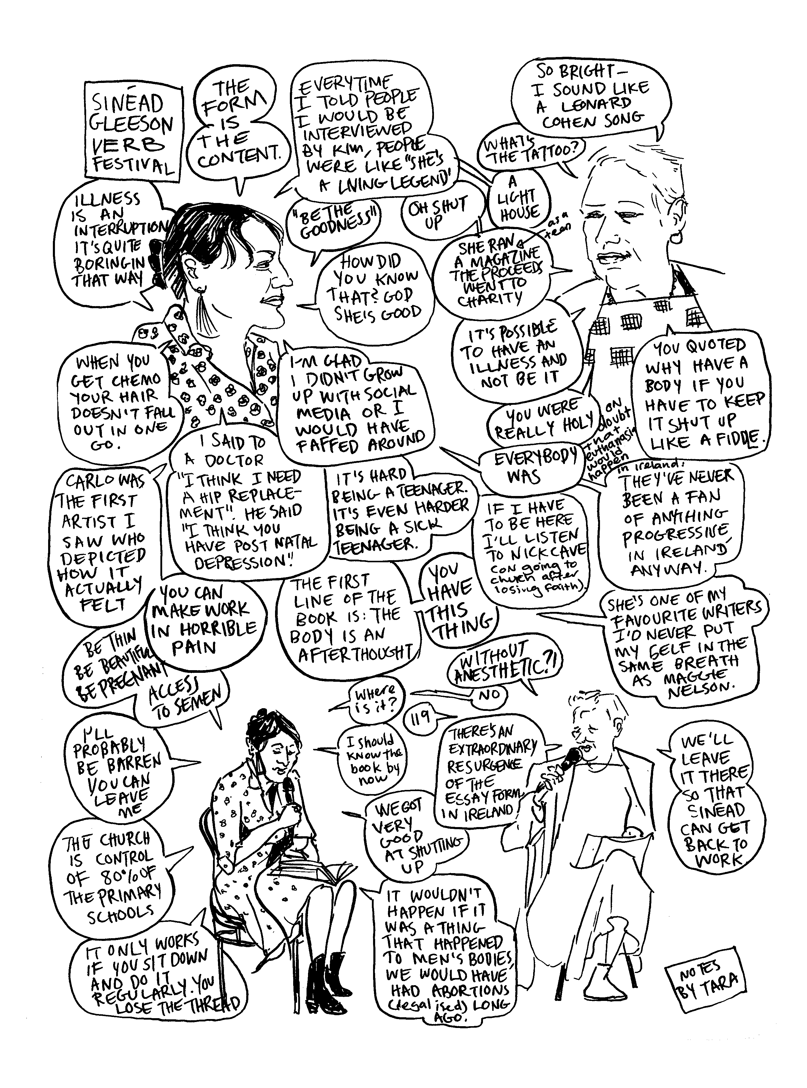 Drawing/comic of Sinéad Gleeson in conversation with Kim Hill about her book Constellations at Verb 2019