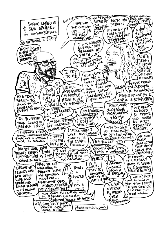 Drawing/comic of Sam Orchard and Sophie Labelle discussing their work in autobio comics at The National Library.