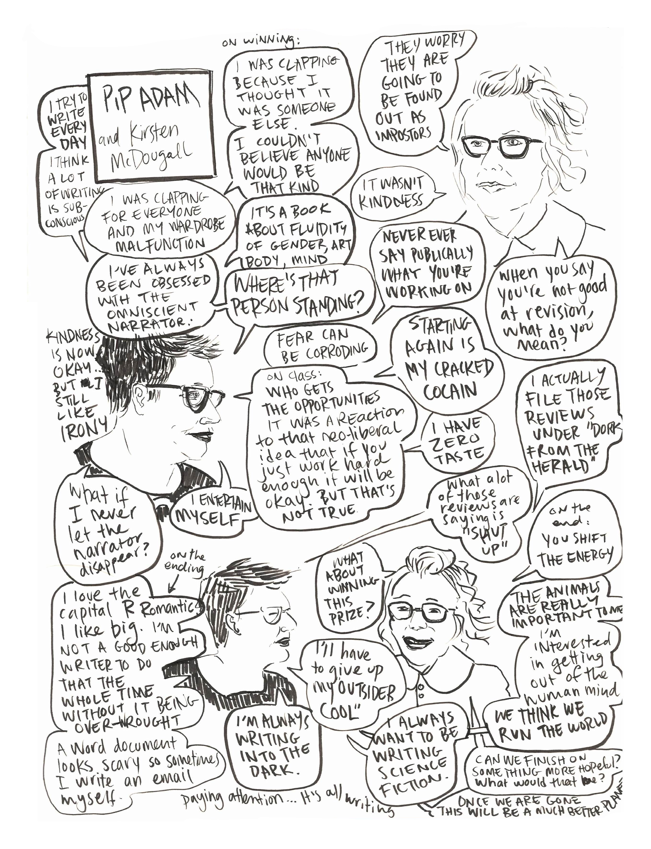 Drawing/comic of Pip Adam discussing her novel, The New Animals, with Kirsten McDougall at Unity Books Wellington.
