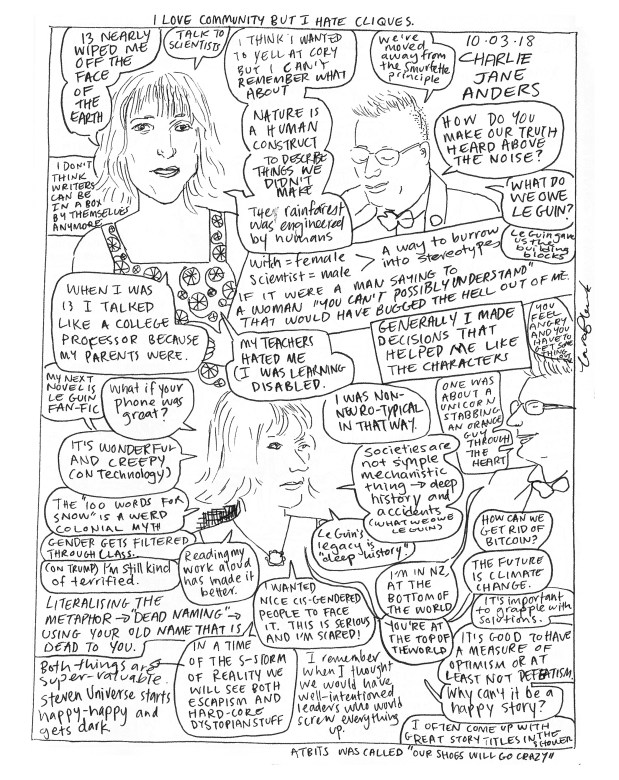 Comic/drawing of Charlie Jane Anders at NZWF 2018.