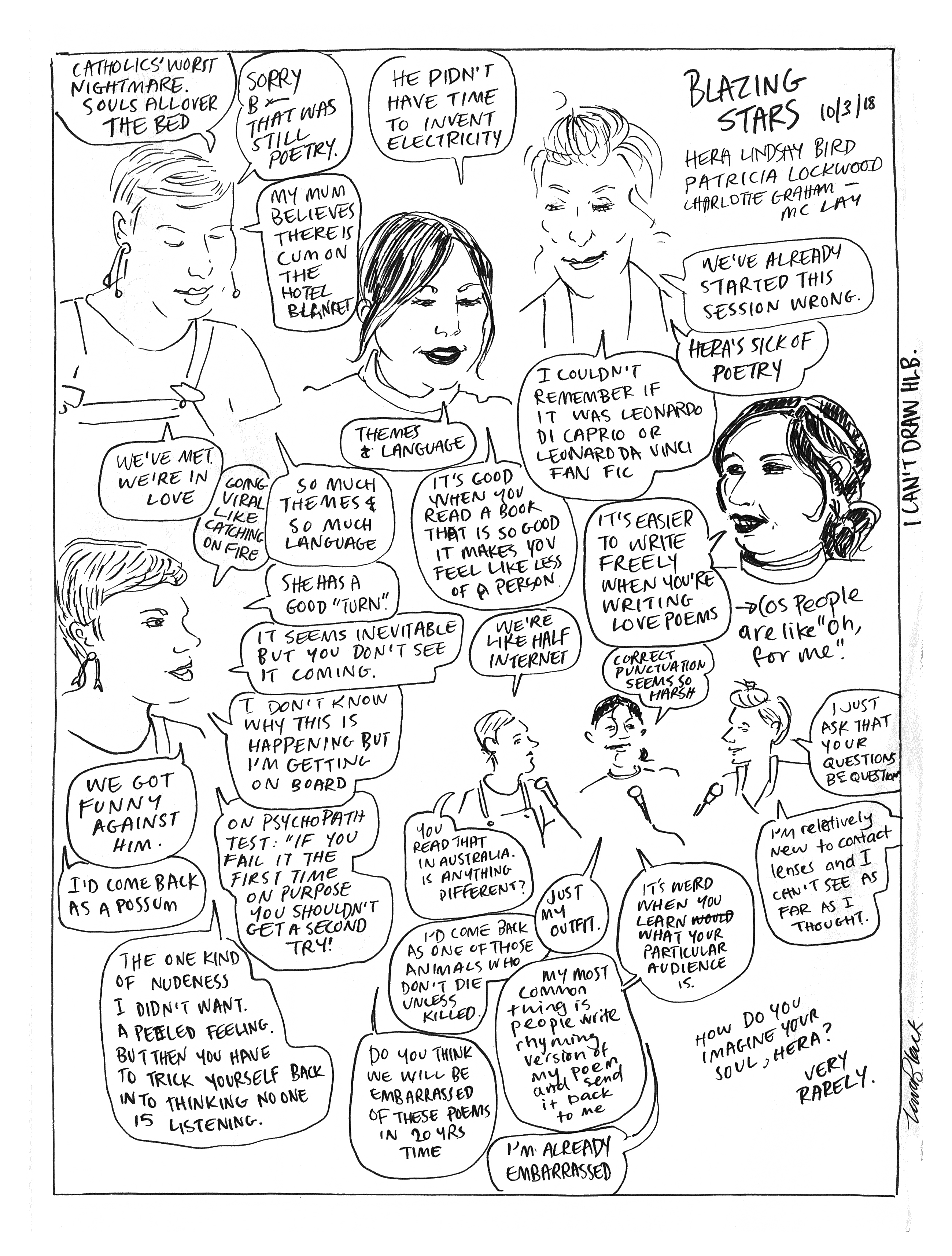 Comic/drawing of Hera Lindsay Bird and Patricia Lockwood in discussion with Charlotte Graham-Mclay at NZWF 2018.