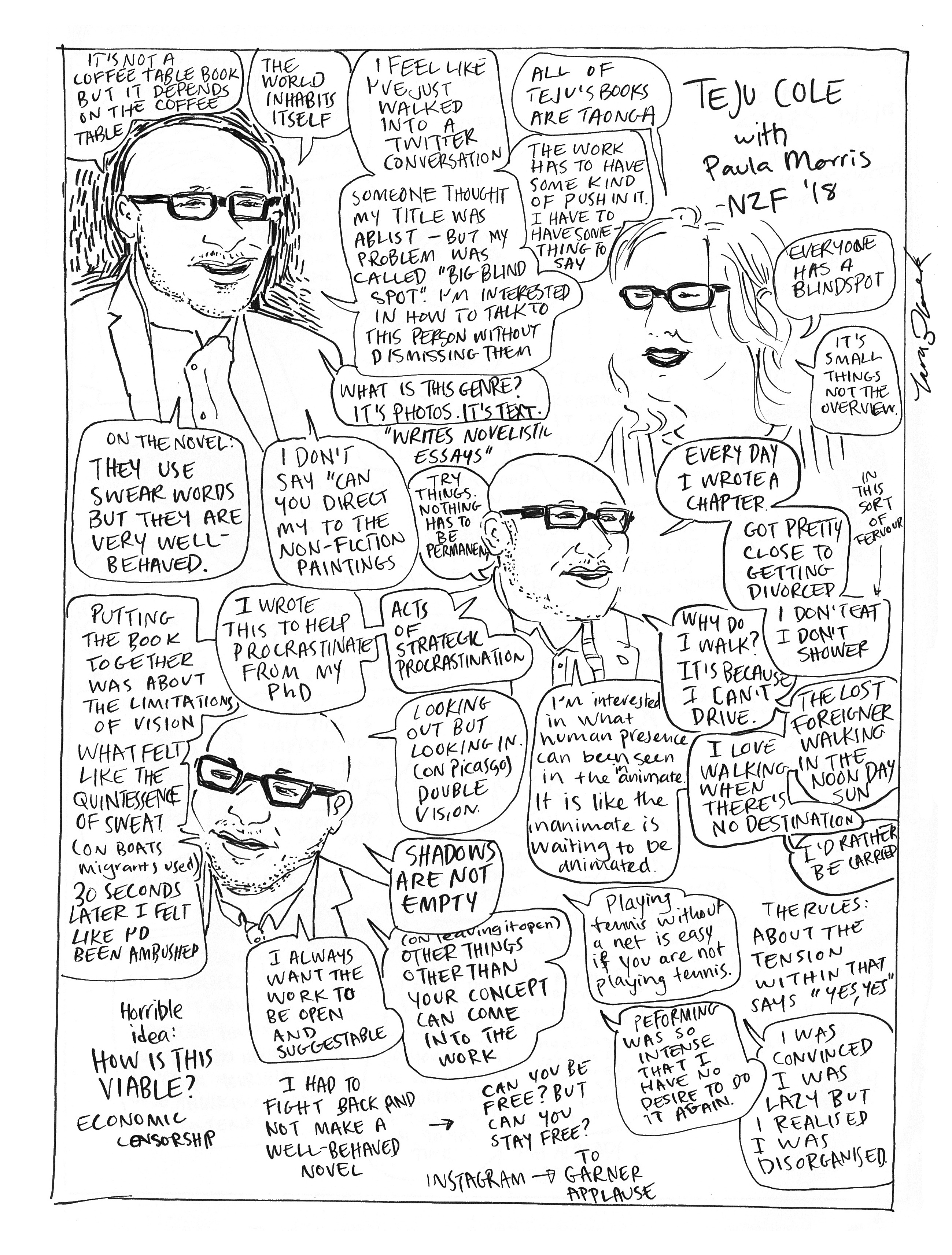 Drawing/comic of Teju Cole in conversation with Paula Morris at NZWF 2018.