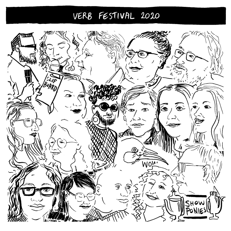 Collage of drawings by Tara Black made live at Verb Festival 2020