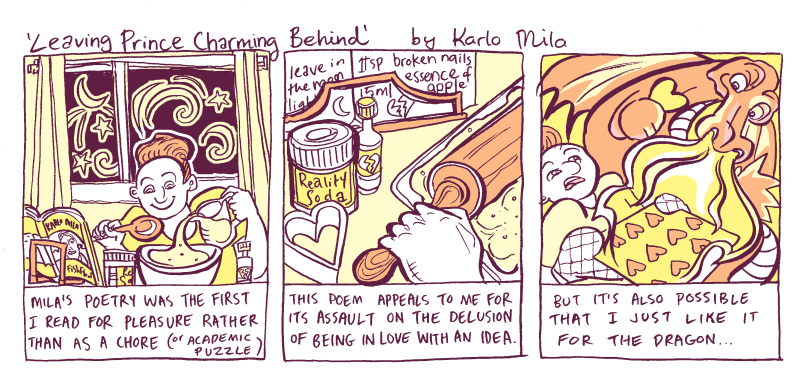 """Comic about Karlo Mila's poem, """"Leaving Prince Charming Behind"""""""