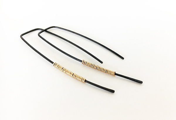 Black and Gold Minimalist Earrings