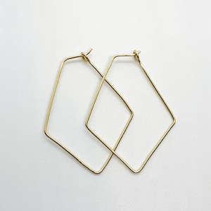 Delicate Gold Diamond Shaped Hoops