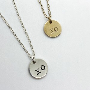 silver gold xo hug kiss pendant necklace
