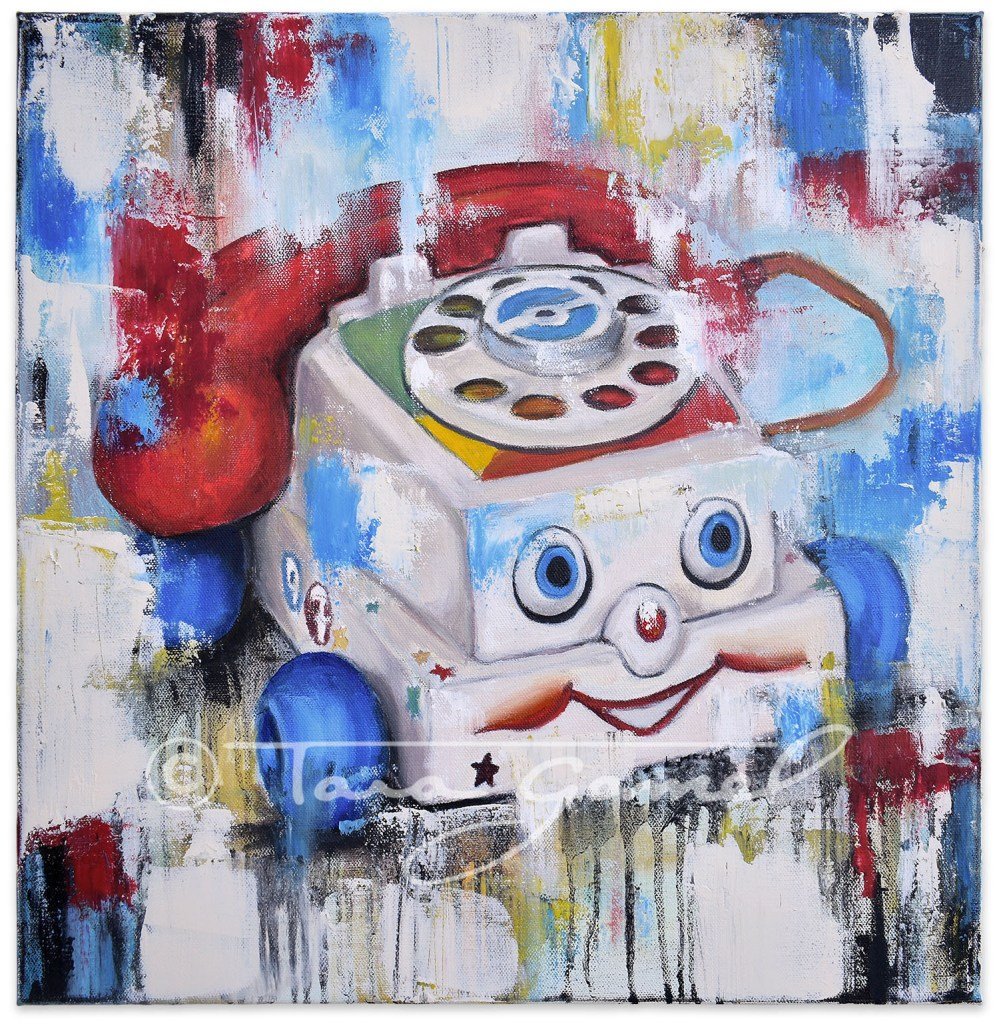 Eye Phone Recall 18x18 original oil on canvas. Classic Fisher Price phone toy recreated in pop art style.