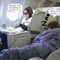 T-ara sleeping in the plane