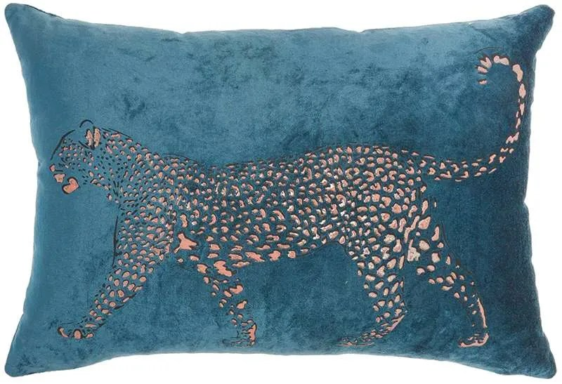 luminesence metallic leopard throw pillow