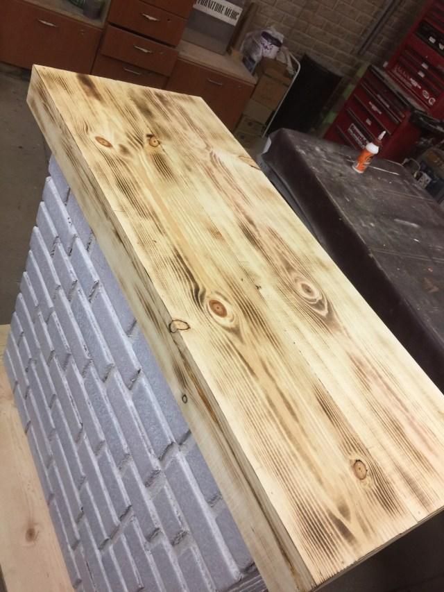 pine wood burning  brick