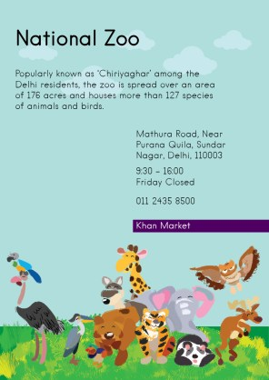 Popularly Known as 'Chiriyaghar' among the Delhi residents, the zoo is spread over an area of 176 acres and houses more than 127 species of animals and birds