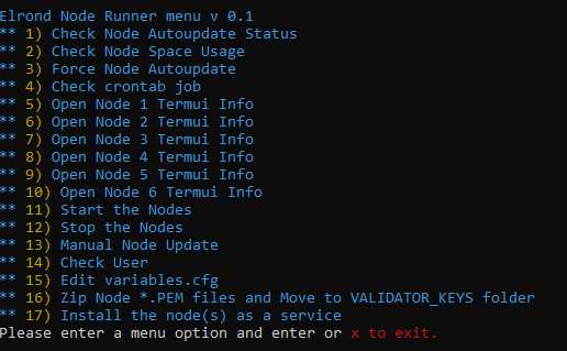 The first version of the Elrond Node Runner menu
