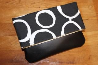 Black and White geometric print clutch