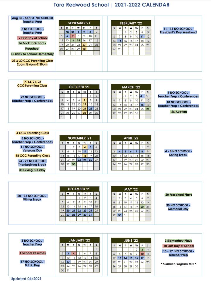 2021–2022 Calendar