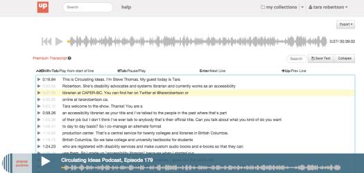 screenshot of Pop Up Archive transcript edit interface