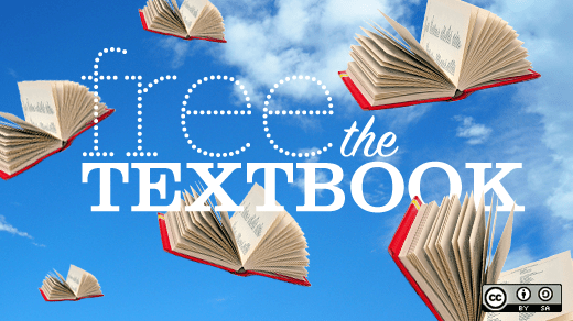 """text: """"free the textbook"""" over a blue sky with white clouds and open books that look like they're flying"""