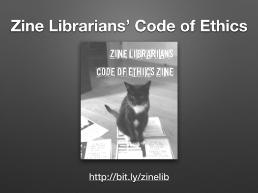 screenshot of the cover of the Zine Librarians Code of Ethics