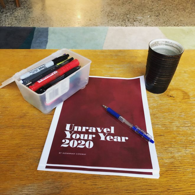 Unravel Your Year 2020 workbook, pencil case and cup