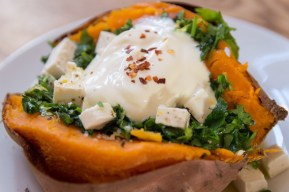 Baked Sweet Potato with Gremolata, Feta Cheese and Sour Cream
