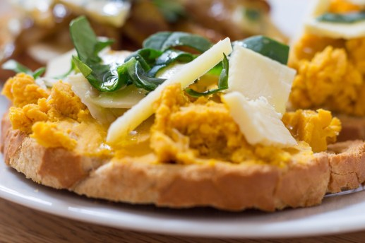 Squash and Quicke's Cheddar Cheese Bruschetta