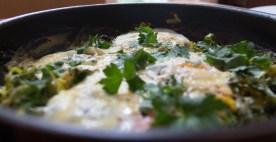 Green Baked Eggs