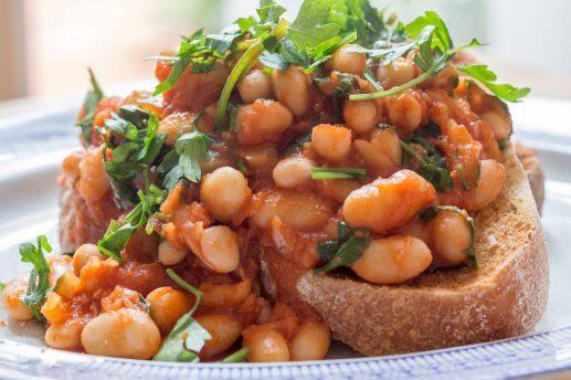 Posh Spicy Beans on Garlic Toast