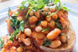 Posh Spicy Beans on Garlic Toast