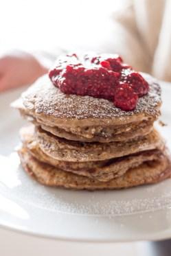 Oat Pancakes with Raspberry Chia Jam