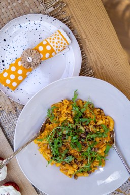 Creamy Pumpkin Pasta With Rosemary & Walnuts